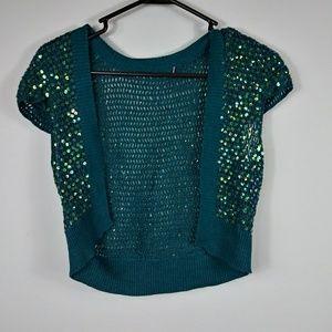 Crochet Strug Cardigan Sequins Size Medium green